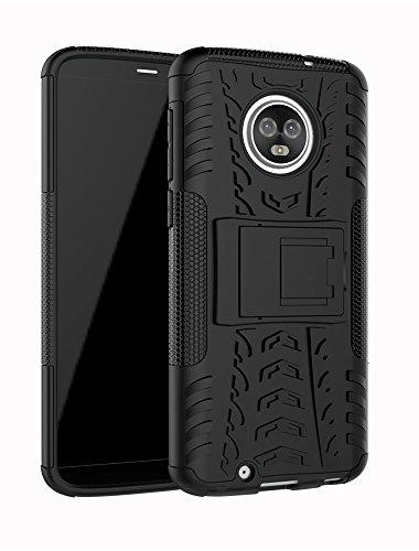 Moto G6Fall, Moment dextrad [Standfuß] [Rutschfeste Design] stoßfest Dual Layer Schutz und Rugged Hybrid Schutzhülle für Motorola Moto G6+ Stylus, Schwarz Durable Hard Case