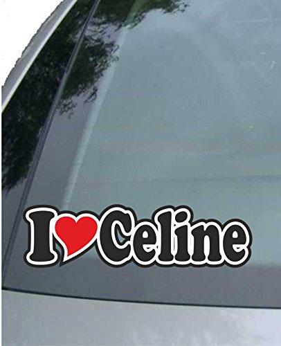 INDIGOS UG - Aufkleber/Autoaufkleber I Love Heart - Ich Liebe mit Herz 15 cm - I Love Celine - Auto LKW Truck - Sticker mit Namen vom Mann Frau Kind -