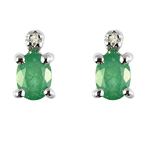 Ivy Gems 9ct White Gold Emerald and Diamond Stud Earrings