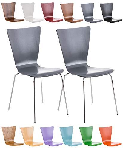 Clp set 2 sedie impilabili aaron in legno robusto e telaio in metallo | sedia ospite facile da pulire design classico | sedia attesa in legno ergonomica i carico max 120kg grigio