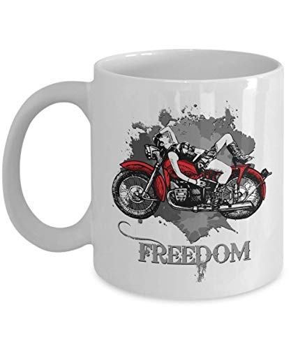 Lady On A Vintage Café Racer Graphic Art Coffee & Tea Gift Mug, Cup Décor, Accessories, Items And Biker Girl Print Ornament For Ladies & Women Motor Bikers Or Motorcyclists ()