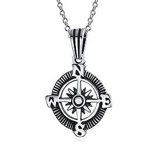 Explorer Reisen Viking Disc Medaillon Rose Kompass Anhänger Halskette Für Herren Für Damen 925 Sterling Silber Oxidiert