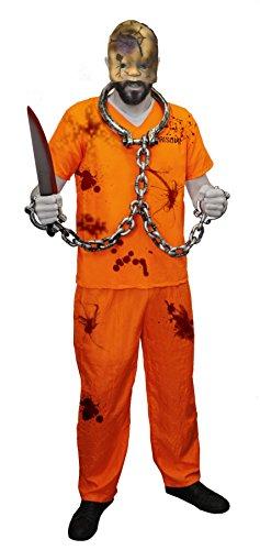 GRUSELIGE STRÄFLINGS VERKLEIDUNG MIT WEISSER HARTPLASTIK HORROR HOCKEY MASKE= KOSTÜM IST IN ORANGE MIT DER AUFSCHRIFT PRISONER AUF DER VORDER UND RÜCKSEITE = ERHALTBAR IN VERSCHIEDENEN GRÖSSEN = DAS KOSTÜME (Kostüm Gefangener Orange Halloween Overall)