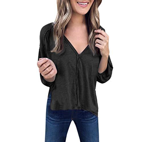 Preisvergleich Produktbild Tianwlio Damen Lässige Langarmshirt Hoodie Pullover Weihnachtsaltes Lässige Feste V-Ausschnitt Lange Puffärmel Gekräuselten Pullover Shirt Top Bluse Schwarz XL