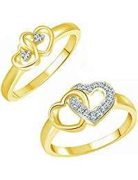 Vighnaharta True Love Combo CZ Gold And Rhodium Plated Alloy Fashion Ring For Women And Girls - [VFJ1170FRG]