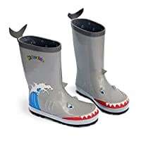 Kidorable Shark Natural Rubber Grey Rain Boots w/Fun Shark Tail Pull On Heel Tab