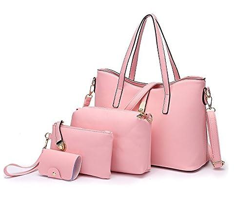 Tibes Art und Weisefrauen PU Leder Handtasche + Schultertasche + Geldbeutel + Kartenhalter 4pcs Rosa