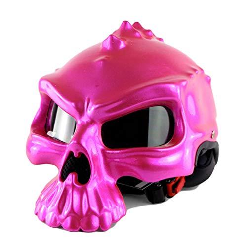 Qianliuk Casco Moto Motobike Casco Cranio Elfo metà Viso Bolla Specchio Doppio Viso Cambio Motocross con Occhiali Adulto