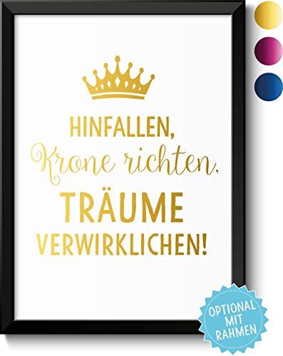 it edler Metallic Folie in Gold, Pink oder Blau & Wunschtext - Rahmen optional - Geschenkidee Valentinstag Geburtstag Jahrestag Hochzeitstag Frauen ()