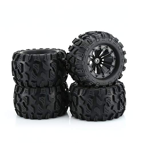 eegwbang ZD Racing New 4PCS 1/10 Monster Truck Pneumatici e Ruote Ruota Giocattolo per Big Foot Car Black