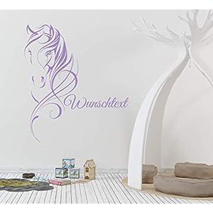 *NEU* Wandaufkleber Wandtattoo Wandsticker fürs Kinderzimmer/Tür u.a. ***PFERDEKOPF mit Ihrem Wunschtext*** (Größen…