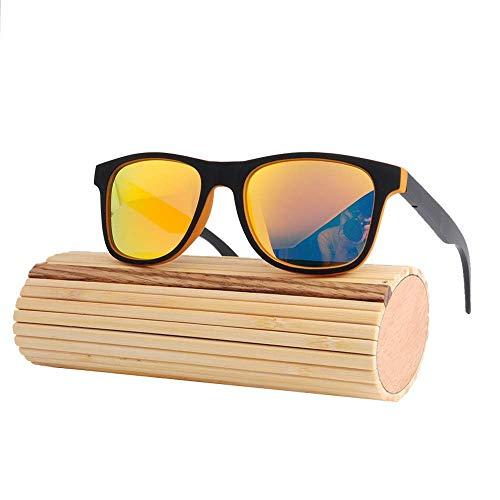 Polarisierte Bambus-Sonnenbrille mit großem Gestell und UV400-Schutz für Männer und Frauen beim Fahren, Laufen, Freizeitsport und bei Aktivitäten (Farbe: Lake Blue + Grau),Orange Orange +