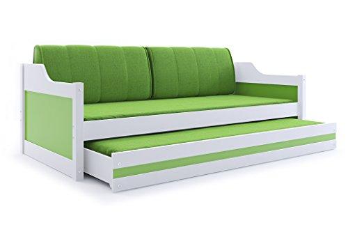 Interbeds Funktionsbett Schubladenbett David 200x90cm Farbe: weiβ; mit Lattenroste, Matratzen und Kissen (weiβ + grün)