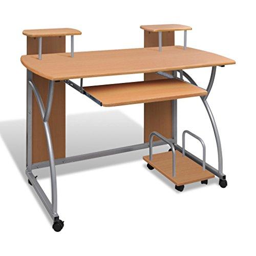 vidaXL Computertisch Schreibtisch Mobiler Bürotisch Computerwagen PC-Tisch auf rollen