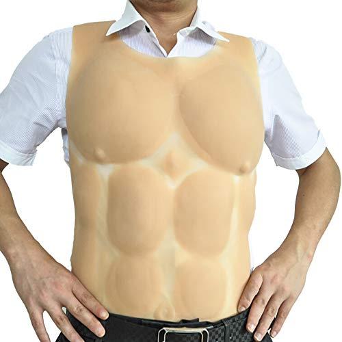 Männliche Muscle Chest Cosplay Rundhals Top Shirt Männer Realistische Muscle Top Simulierte Brust Muscle Medizinische Silikon Transsexuelle Wearable Maskerade,Skintone,2.3kg ()