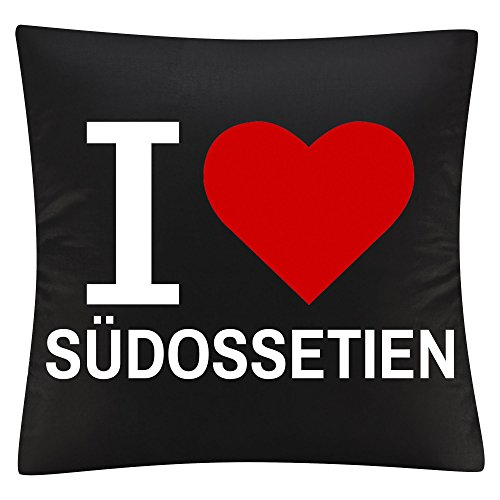 Kissenbezug Kissen Classic I Love Südossetien schwarz