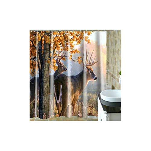 KnSam Duschvorhang Elch Tier Vorhänge Badewannevorhang Wasserdicht Anti-Schimmel -