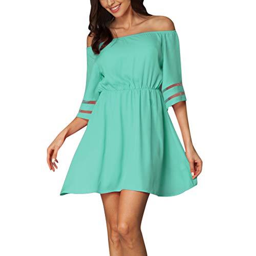 XuxMim Damenmode Kalte Schulter Minikleid Lässige Mesh Stitching Ausgestelltes Ärmelkleid(Grün,Medium)