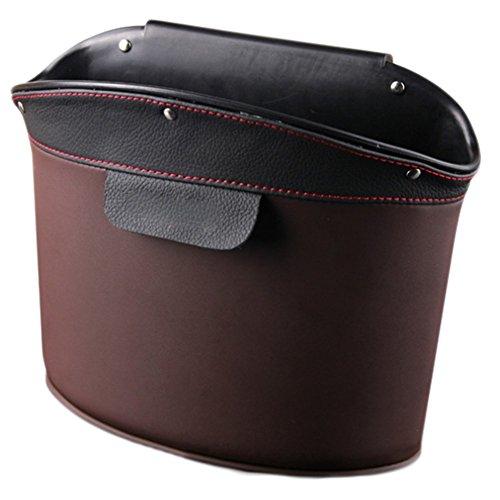 Chytaii KFZ Aufbewahrungsbox Mülleimer Premium Leder Auto Cubby Box Abfall für Lagerung Organizer (Dunkelbraun)
