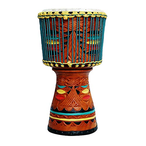 Djemben Handtrommeln Afrikanische Trommel DJ Leistung Mahagoni Handtrommel 12 Zoll ganze Holz handgemachte Schnitzerei Tamburin, Geschenke Percussion (Color : Multi-Colored, Size : 12 inch)