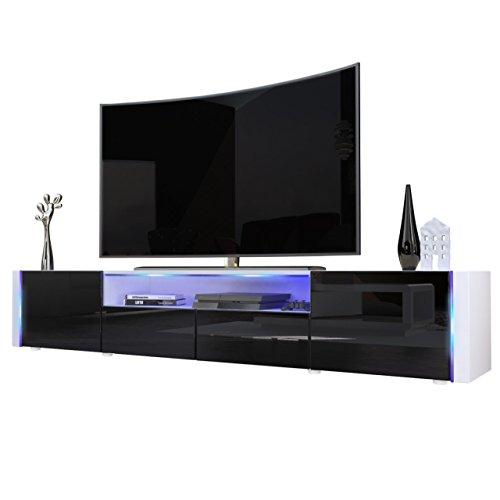 Meuble TV bas Marino V2, Corps en Blanc haute brillance / Façades en Noir laqué haute brillance