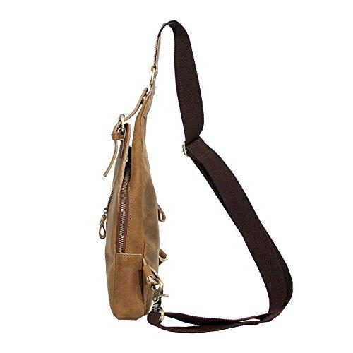 Othilar Damen Herren klein Leder Tasche Brusttasche Schultertasche Rucksack für Freizeit Sport (Dunkelbraun) Hellbraun