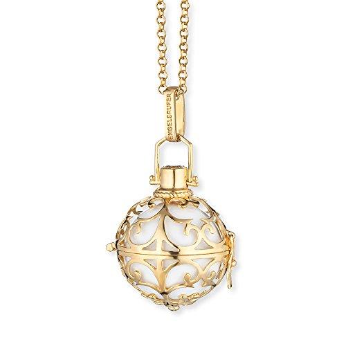 Engelsrufer-Set Damen klassischer Erbskette mit weißer Klangkugel 925er-Sterlingsilber gelbvergoldet L Länge 90 cm