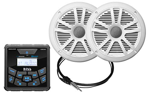 Boss Audio Marine Stereo Package, Square, AM/FM/MP3 Boss Audio Boss Marine