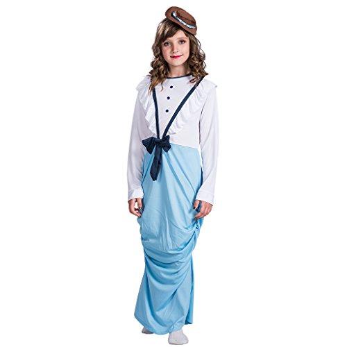 (EraSpooky Kind Posh viktorianischen Mädchen Kostüm Welt Buch Woche Tag Fancy Dress(Blau, Large))
