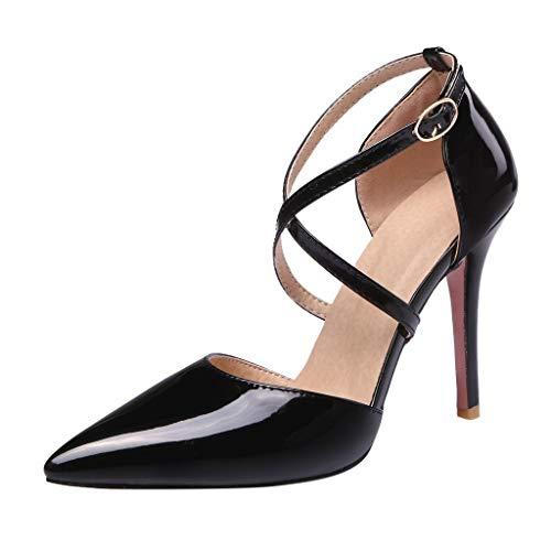 iYmitz Sommer Elegant Sandaletten Damen Hochhackig Kreuzgurte Spitz Patent Leder Sandalen Beiläufig High Heel Stiletto Mädchen Schuhe(Schwarz,EU 42) (Silber High Heels Für Mädchen)
