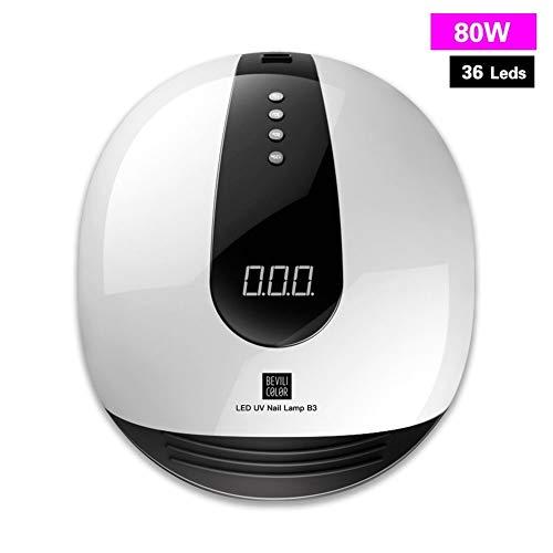 GUFS Secador de uñas Nueva lámpara UV 80W/48W Secadores de clavos LED Máquina automática del sensor UV Gel Pantalla LCD de tiempo para curar el esmalte en gel Herramienta de arte de uñas