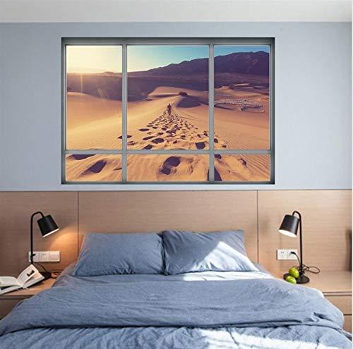 Haipeiy adesivo per vetrofania 3d adesivo per parete tramonto paesaggio desertico oggettistica per la casa paesaggio vista arte carta da parati poster murale adesivo de parede