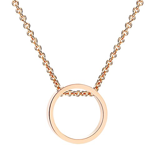 Halskette mit Ring Kreis Offen Geometrisch Anhänger Titan Rosegold Vergoldet Rose Gold MYARGKET-30 (Rose Gold Platten)
