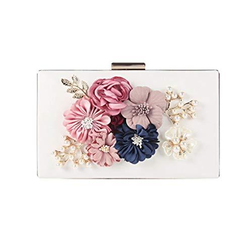 GFCGFGDRG Damen Velvet Clutch Blumen Perlen Abendtaschen Frauen Velour-Partei-Hochzeit Handbag Braut Luxus Mini Tagesgeld