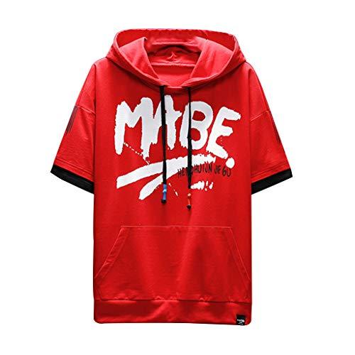 Tyoby Herren Mode T-Shirt Mit Kapuze,Original Populäres Element Drucken Hip Hop Herrenbekleidung(rot,XL)
