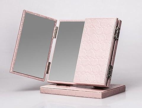 Meylee Handmade Leather Tri-Fold éclairé Vanity Table maquillage miroir Fashion réglable comptoir pliant portable miroir Home décoration pour Make Up , pink