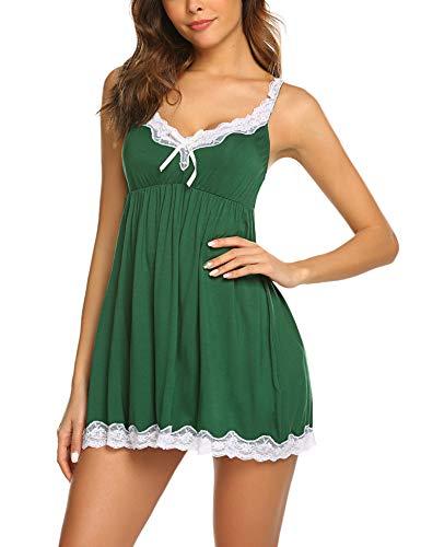 Meaneor_Fashion_Origin Sexy Negligee Nachtwäsche Nachthemd Spitze Lingerie Nachtkleid Babydoll Dessous Reizwäsche Sleepwear Kleid mit String für Damen Rot XL (Setzen Home)