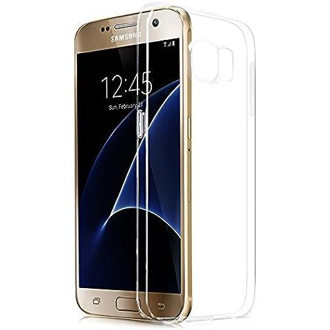 Lively Life Samsung Galaxy S7 Edge Air-Cuscino Air-Custodia Slim trasparente in poliuretano termoplastico morbido, per angoli con Grainy assorbimento degli urti, realizzata in materiale ECO-Friendly, colore: trasparente, - Clear Dust-Cap, Galaxy S7 Edge