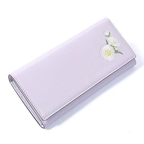 Woolala Donna Ricamato Pu In Pelle Lungo Portafoglio Elegante Trifold Grande Capacità Borsa Frizione, Nero Pink