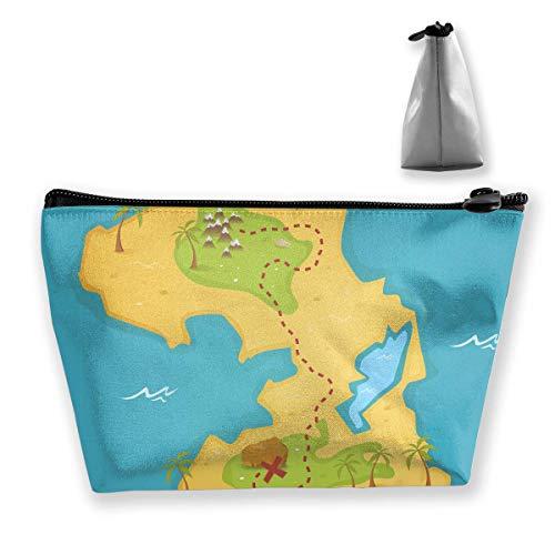 Rolling Organizer Duffel (Treasure Island and Pirate Map Women Cosmetic Bags Multifunktions-Kulturbeutel Organizer Travel Wash Lagerung (Trapez))
