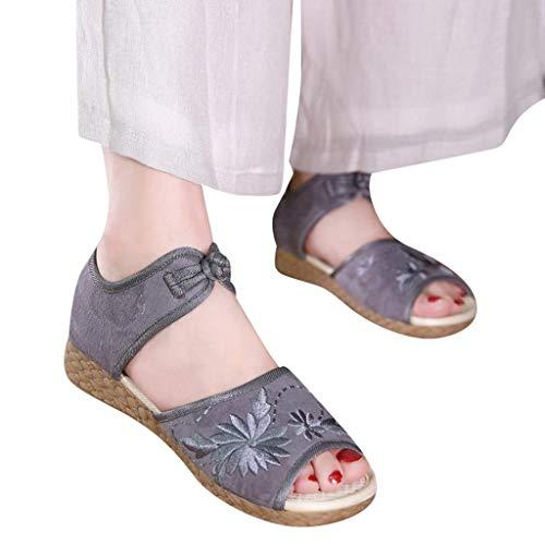 HILOTU Frauen Chinesische Traditionelle Stickerei Mary Jane Schuhe Blume Peep Toe Ausschnitt Sandalen Mode Sommer Vielseitige Schuhe (Color : Grau, Size : 36 EU) -