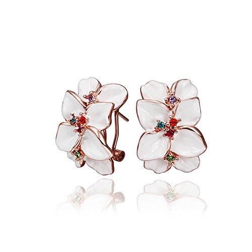 Cristallo austriaco fatto con orecchini di disegno di modo / vite prigioniera / goccia Per le donne confezione regalo di disegno di Swarovski (bianco)