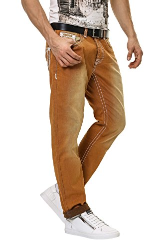 Hachiro Herren Straight Leg Jeans Denim Used Look Brown