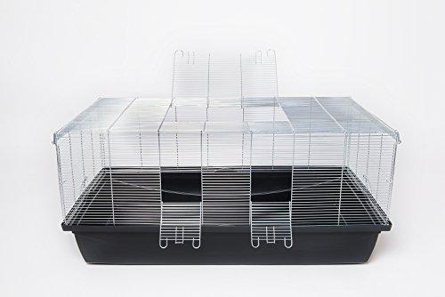 XXL Nagerkäfig für Ratte Mäuse Hamster Kleintier Paradies 1m 6mm Gitterabstand schwarz (Hamster Käfige Für Große Hamster)
