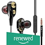 (Renewed) PTron Boom 2 4D Earphone Deep Bass Stereo Sport Wired Headphone with 3.5mm Jack for All Smartphones (Black/Gold)