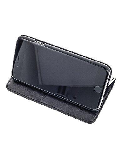 QIOTTI >               Apple iPhone 7 PLUS (5,5&quot;)               < incl. PANZERGLAS H9 HD+ Geschenbox Booklet Wallet Case Hülle Premium Tasche aus echtem vegetabil gegerbtes Kalbsleder mit Kartenfächer in LILA. Edel verpackt incl SCHWARZ