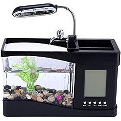 Mini acuario pecera con bomba de agua y luz, despertador, calendario, reloj color negro