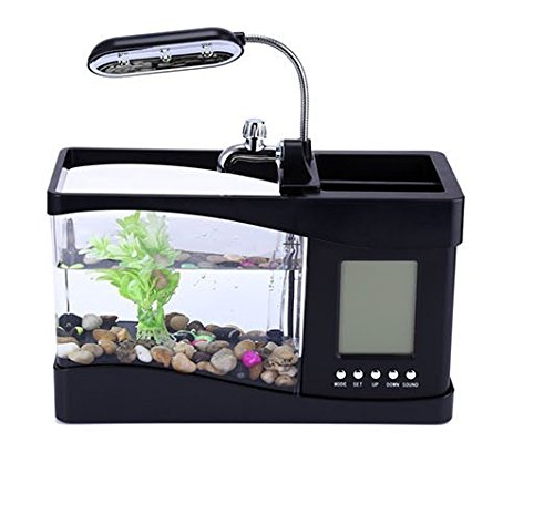 Mini Aquarium Goldfischglas mit Pumpe für Wasser und Licht, Wecker, Kalender, Uhr schwarz