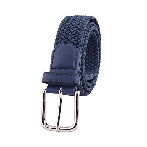 MIJIU Stretchgürtel für Herren hochelastischer Reine farbe gewebter Gürtel silberne Metalldornschnalle 8 Farben erhältlich (Reines hellblau)