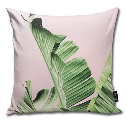 Banana Leaf On Pink Pillowcase Home Life Cotton Cushion Case 18 x 18 inches Banana Leaf House